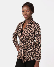 AX Paris Leopard Print Tie Waist Wrap Top Multi