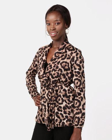 47b15a11e1b93 AX Paris Leopard Print Tie Waist Wrap Top Multi