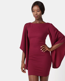 AX Paris Flare Sleeve Mini Dress Plum