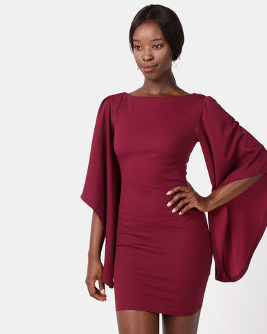 6f32cb5cb0f AX Paris Flare Sleeve Mini Dress Plum