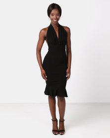 AX Paris Backless Fishtail Midi Dress Black