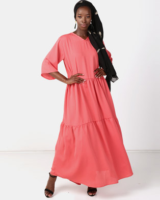 Faisa_Southafrica Three Tier Dress Coral