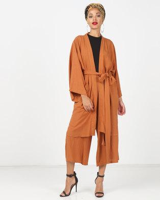 Faisa_Southafrica 2 Piece Kimono Set Tan