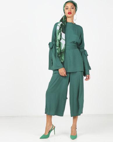Faisa_Southafrica 2 Piece Set Bell Sleeve Pants Set Emerald