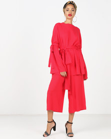 Faisa_Southafrica 2 Piece Set Bell Sleeve Pants Set Red