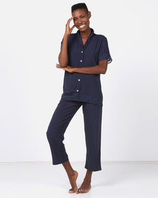 Poppy Divine Plain Rayon 3/4 Classic PJ With Lace Trim Navy