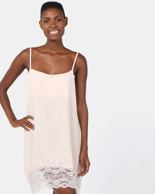 Poppy Divine Plain Rayon Chemise With Lace Trim Nude