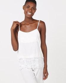 Poppy Divine Plain Rayon Strappy Top With Lace Trim Ivory