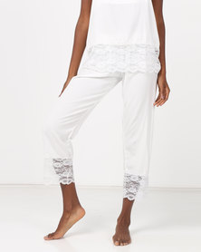 Poppy Divine Plain Rayon 3/4 Pant With Lace Trim Ivory