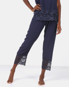 Poppy Divine Plain Rayon 3/4 Pant With Lace Trim Navy