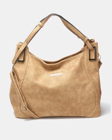 Blackcherry Bag 2 Piece Classic Bag and Crossbody Bag Set Beige