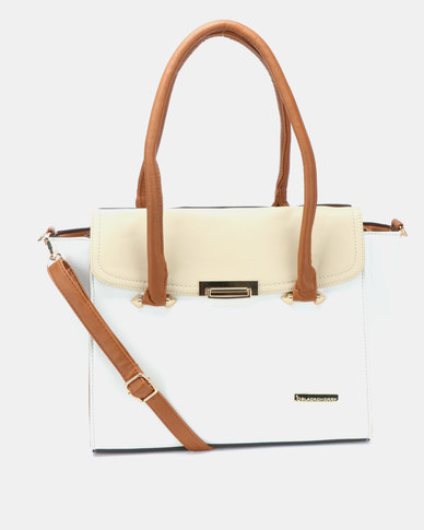 Blackcherry Bag 2 Piece Structured Shoulder Bag And Crossbody Bag Beige