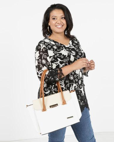 Blackcherry Bag 2 Piece Structured Shoulder Bag And Crossbody Bag Beige