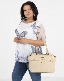 Blackcherry Bag 3 Piece Handbag, Crossbody And Cosmetic Bag Set Beige