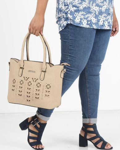 Blackcherry Bag Laser Cut 2 Piece Handbag and Crossbody Bag Set Desert Sand
