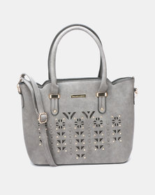 Blackcherry Bag Laser Cut 2 Piece Hanbag and Crossbody Bag Set Grey