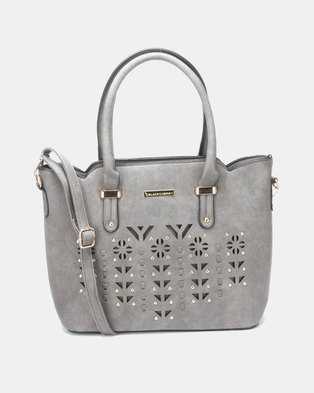 92c6193fddba Blackcherry Bag Laser Cut 2 Piece Hanbag and Crossbody Bag Set Grey