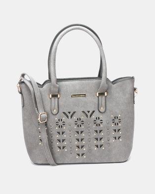 Blackcherry Bag Laser Cut 2 Piece Hanbag and Crossbody Bag Set Grey