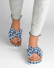 Jeffrey Campbell Rotuma Blue Plaid Sandals