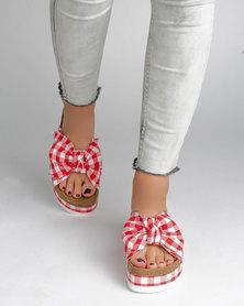 Jeffrey Campbell Rotuma Red Plaid Sandals