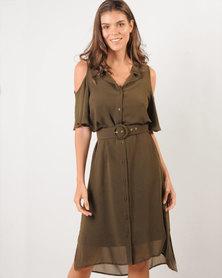 Marique Yssel Open-Shoulder Shirt Dress- 2fer - Fatigue