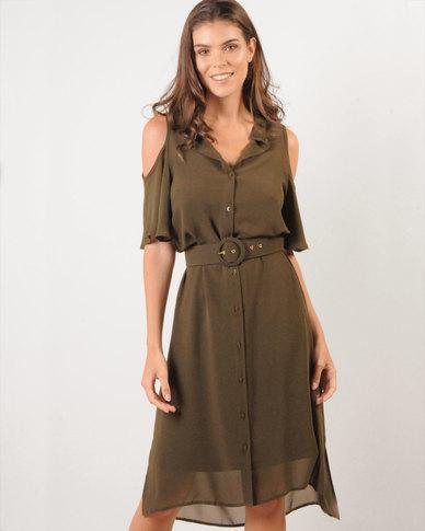 347c73b4eed6 Marique Yssel Open-Shoulder Shirt Dress- 2fer - Fatigue