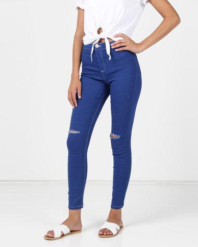Legit Skinny Jeans With Slashed Knee Periwinkle
