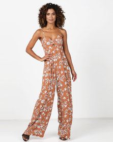 Legit Printed Wideleg Jumpsuit With Cut Out Detail Rust