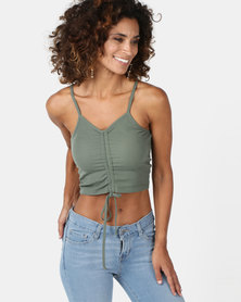 Legit Crop Cami With Ruched Front Fatigue