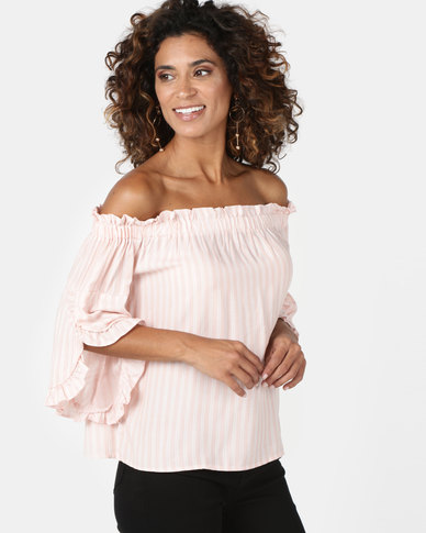 Legit Bardot Top With Split Frill Sleeve Stripe Pink