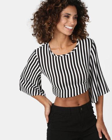 Legit Open Tie Back Flare Sleeve Stripe Blouse White/Black