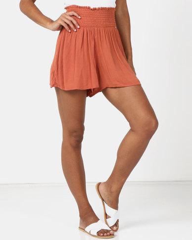 Legit Shirred Waist Drapey Shorts Orange