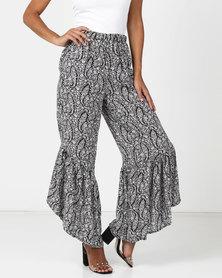 Legit Paisley Printed Wide Leg Mermaid Pants Black/White