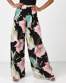Legit Wide Leg Floral Printed Pants With Front Pleats Black