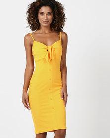 Legit Button Through Midi Dress With Tie Front Mustard
