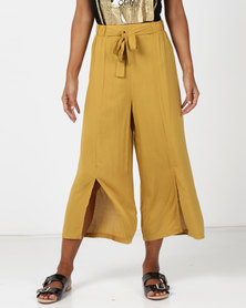 Legit Culotte With Front Slits Mustard