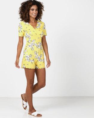 d538e5d359 Legit Floral Playsuit Yellow