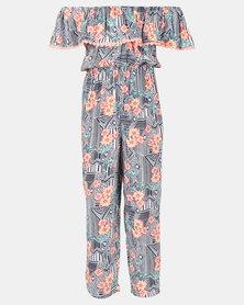 Legit Bardot Frill Aztec Floral Printed Maxi Jumpsuit Multi