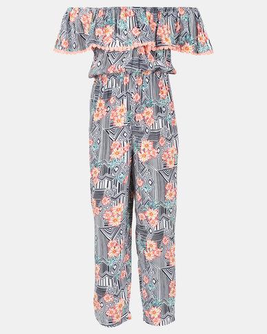 b034bf20bca Legit Bardot Frill Aztec Floral Printed Maxi Jumpsuit Multi