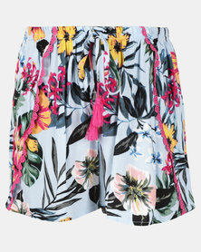 Legit Tropical Printed Shorts With Wrap Skirt Front Blue Floral