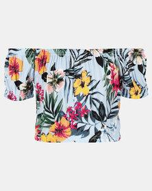 Legit Tropical Printed Bardot Top Blue Floral