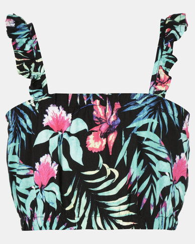 Legit Tropical Printed Crop Top Black Floral