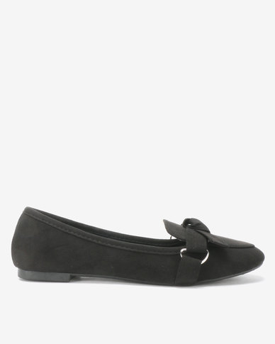 Legit Knotted Bow Loafers With D-Ring Black