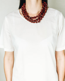 Basic Journey Leather Three Chain Necklace Black