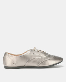 City Style by Jada Brush PU Flats Pewter