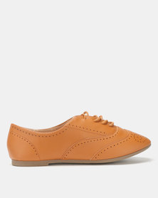 City Style by Jada Brush PU Flats Tan