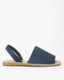 Tatazi by Jada Brush Nubuck Sling Back Flats Indigo Blue
