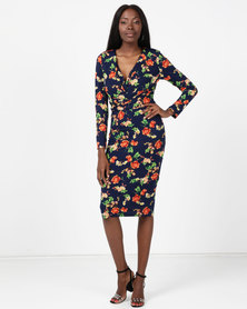 Revenge Long Sleeve Printed Dress Navy