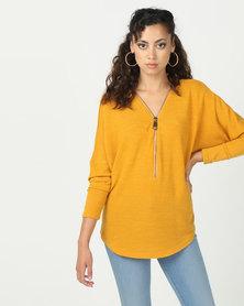 Revenge Zip Detail Knit Top Mustard