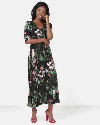 Revenge Printed Maxi Dress Multi Black